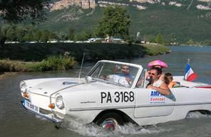 Croisière en voiture Amphibie sur le Rhône près de Lyon