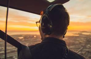 Baptême en hélicoptère pour 2 depuis Blois - vol durant le coucher du Soleil