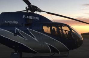 Baptême en hélicoptère durant le coucher du Soleil à Tours