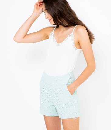 Short broderie anglaise femme