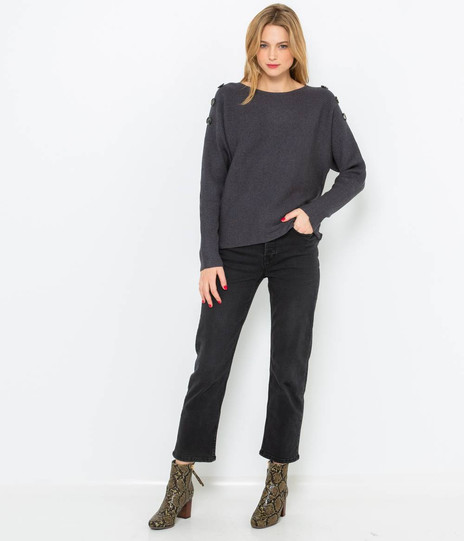 Pull fines côtes femme