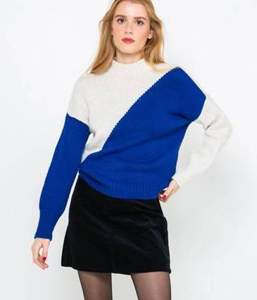 Pull color block femme