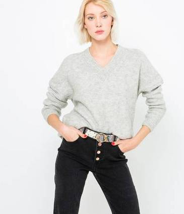Pull grosse maille irisée femme